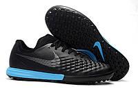Футбольные сороконожки Nike MagistaX Finale II TF Black/Blue/Black, фото 1