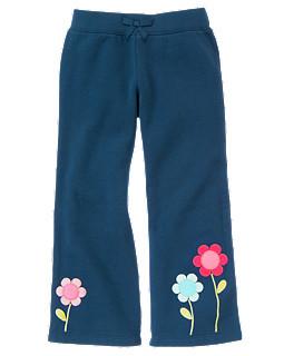 Флисовые  брюки с вышитыми цветами внизу (Размер 4Т)  Gymboree (США)