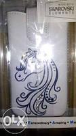 Чехол-карман для 4,5 дюймов (лошадь) белый со Сваровски