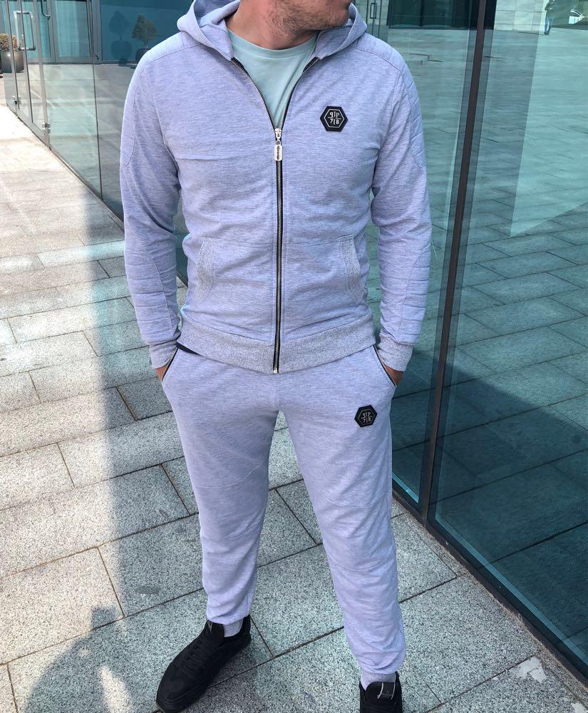 Серый мужской спортивный костюм Philipp Plein