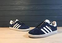 Мужские кроссовки Adidas Gazelle Blue-White  . ⠀⠀⠀⠀⠀⠀⠀⠀⠀⠀⠀⠀⠀⠀⠀⠀⠀⠀(реплика)