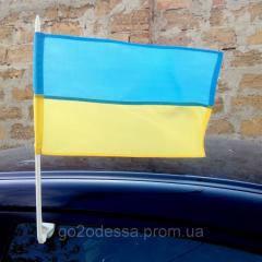 Автофлаг, флаг Украины на автомобиль с флагштоком