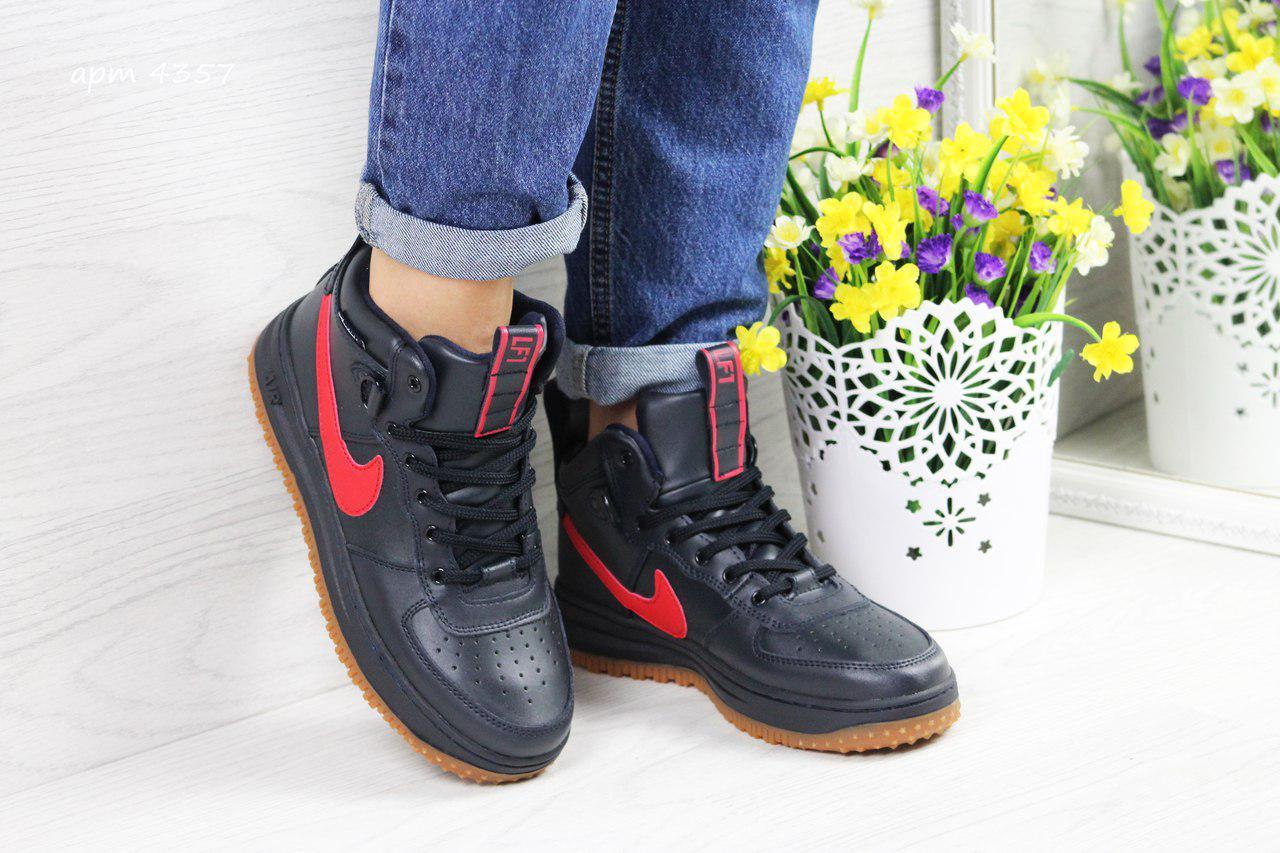 Женские кроссовки Nike Lunar Force 1, (4 цвета), Темно-синие с красным, Прес-кожа, прошиты