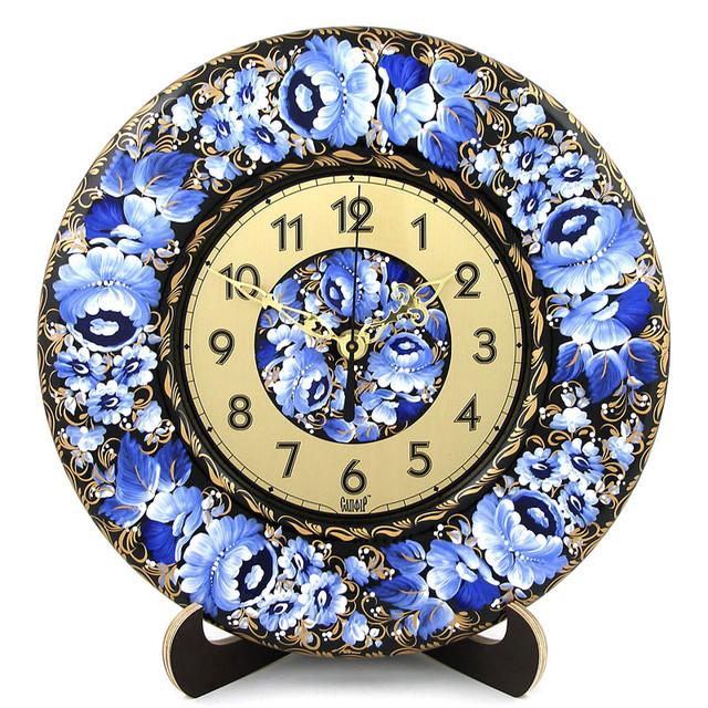 декоративные деревянные часы Райская гжелка