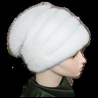 Норковая шапка зимняя женская белая