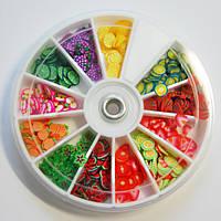 Фимо-фрукты для дизайна ногтей в карусельке
