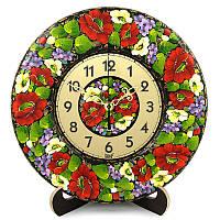 Часы Букет з бузком. Украинский сувенир. Петриковская роспись.