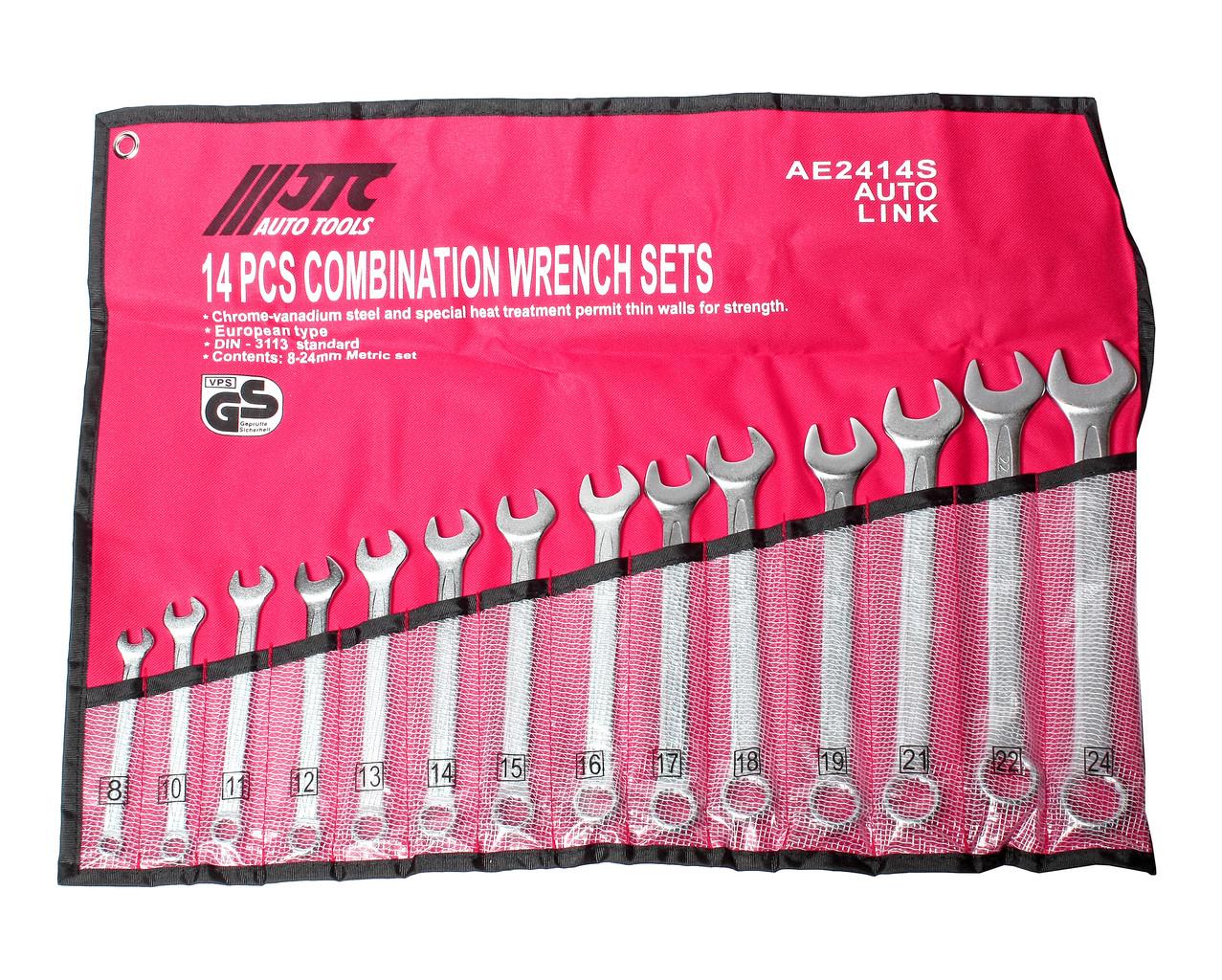 Набор рожково-накидных ключей 8-24мм 14ед. (ЕВРО-ТИП) (AE2414S JTC)