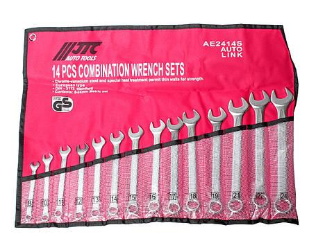 Набор рожково-накидных ключей 8-24мм 14ед. (ЕВРО-ТИП) (AE2414S JTC), фото 2