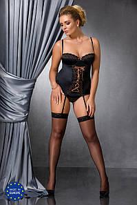Закрытый корсет Evane Corset Passion size plus 4XL/5XL, черный
