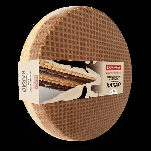 Вафельні коржі Lekorna 112г для торта Какао 16шт/1ящик