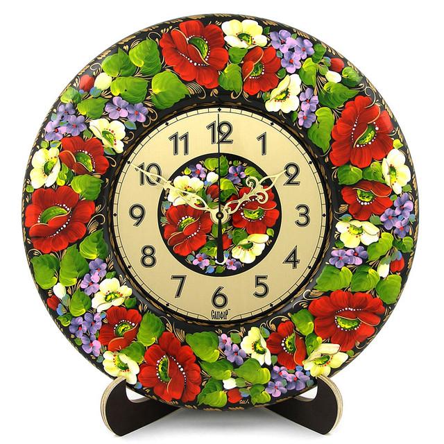 декоративные деревянные часы Букет з бузком