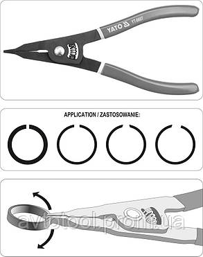 Щипцы для снятия удерж. пружины, YT-0607 YATO, фото 2