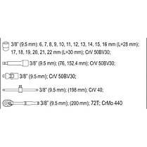 Набір головок торцевих М6-22 мм з квадр. 3/8'' з інстр-ми, 22 шт. [10], YT-38561 YATO, фото 3