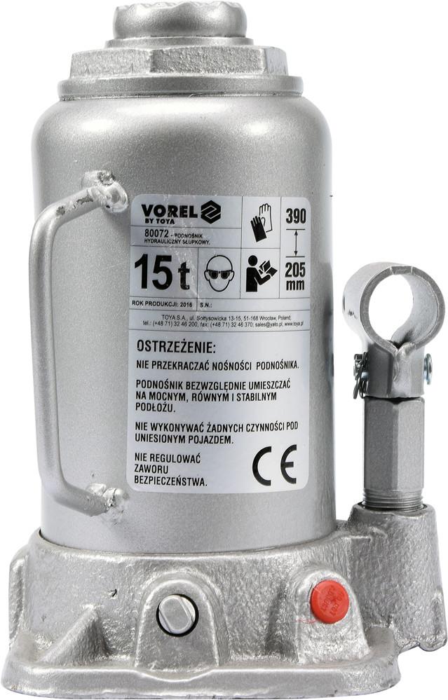 Домкрат гідравлічний cтовбцевий, F= 15 т, роб. висота- 205- 390 мм (80072 Vorel)