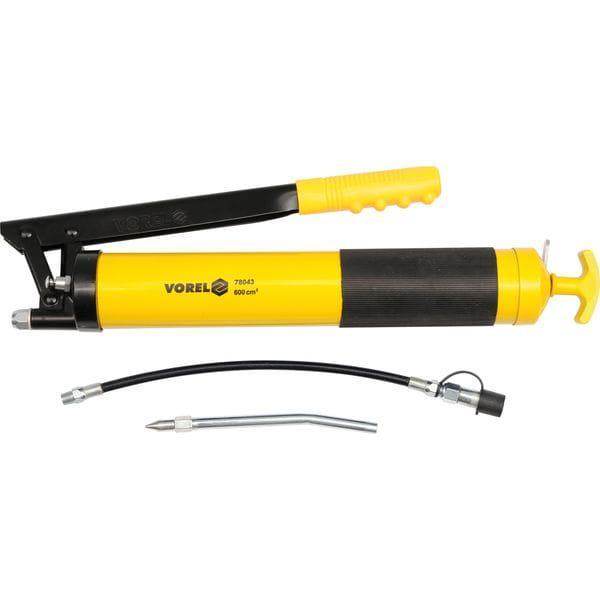 Шприц мастильний з гнучкою і жорсткою трубками V= 600 см?, 41-69 MPa (78043 Vorel)