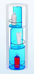 Угловой поворотный шкафчик в ванную на 3 полки (голубой), Prima Nova, S02-1