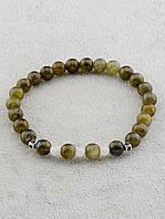 054058 Браслет из лабрадора и лунного камня натурального 18 см.