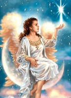 """Алмазная вышивка """"Ангел сидящий на луне"""""""