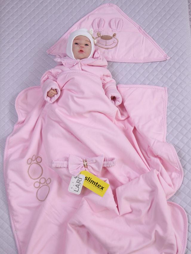 """Демисезонный конверт-одеяло для новорожденных """"Мишутка"""" розовый"""