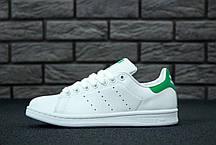 Кроссовки женские Adidas Stan Smith White Green топ реплика, фото 3
