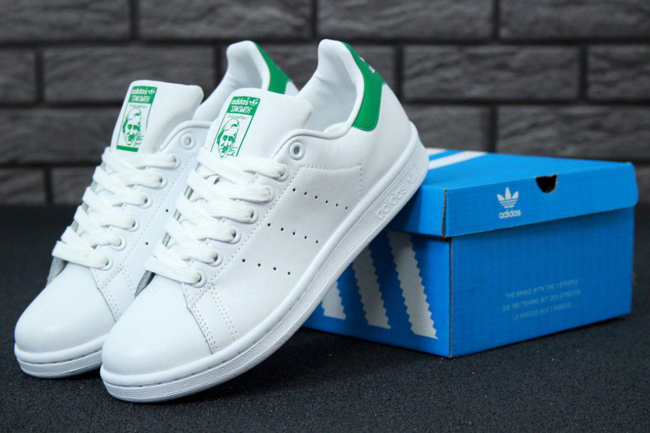 Кроссовки женские Adidas Stan Smith White Green топ реплика