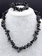 Набор украшений из черного агата 48 см. 035130