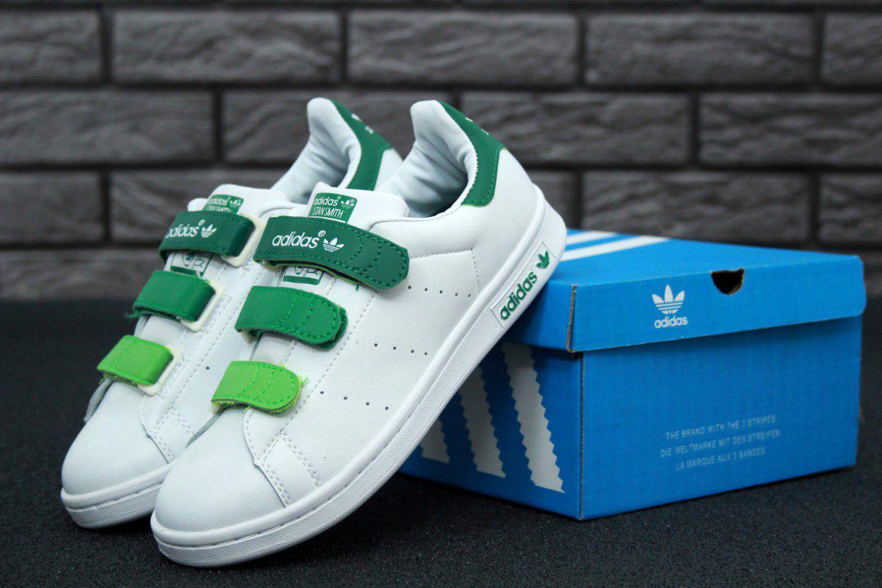 Женские кроссовки Adidas Stan Smith бело-зеленые топ реплика