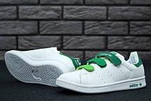 Женские кроссовки Adidas Stan Smith бело-зеленые топ реплика, фото 2