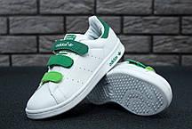 Женские кроссовки Adidas Stan Smith бело-зеленые топ реплика, фото 3