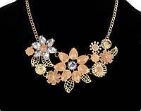 Колье Цветы розовые/бижутерия/цвет цепочки золото/цвет искуственных камней розовый
