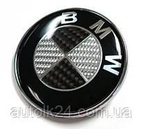 Эмблема капота и крышки багажника BMW 74/82мм карбон