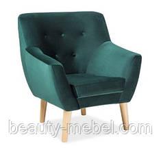 Дизайнерское мягкое кресло Signal Nordic 1 Velvet, зеленое