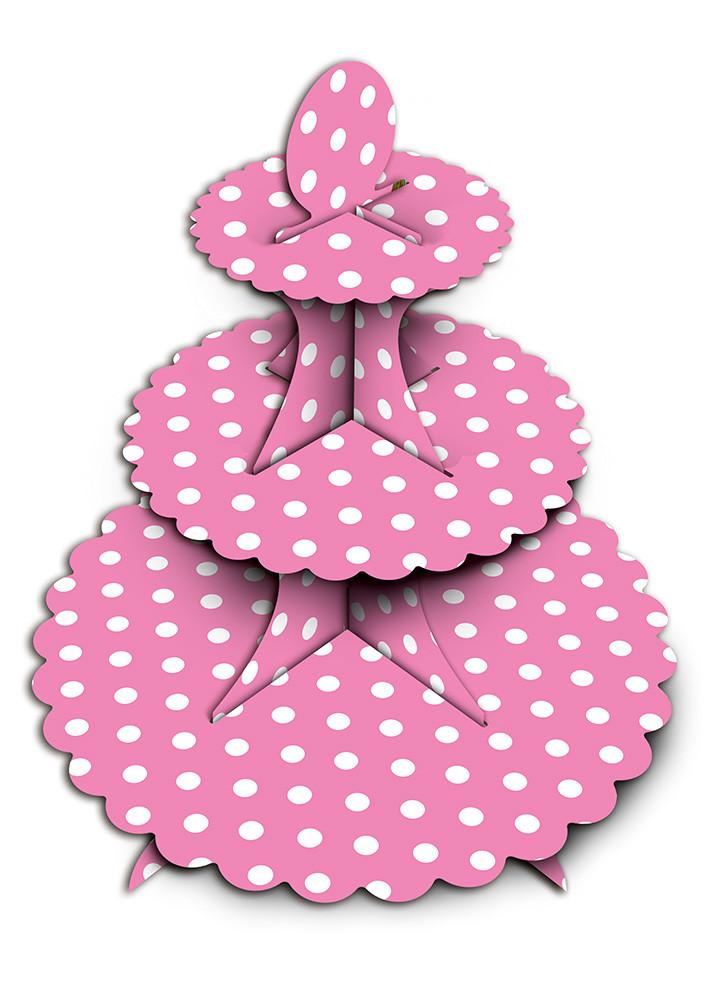 Подставка для кексов  3-х ярусная розовая - Магазин Ваш Комфорт             в Харькове