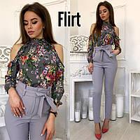 Блузка стильная с вырезами на плечах шелк в цветочный принт разные цвета RfL207
