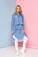 Очень стильное платье туника в полоску с воротником средней длины синее