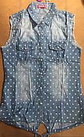 Рубашки джинсовые для девочек оптом, S&D, 8-16 лет,  № KK-744