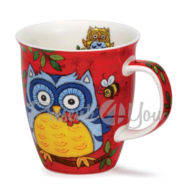 Кружка фарфоровая, Англия «Nevis owls red» Dunoon, 480 мл, h-11,2 см