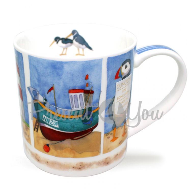 Кружка фарфоровая, Англия «Beside the Sea - Лодка» Dunoon, 350 мл, h-9 см