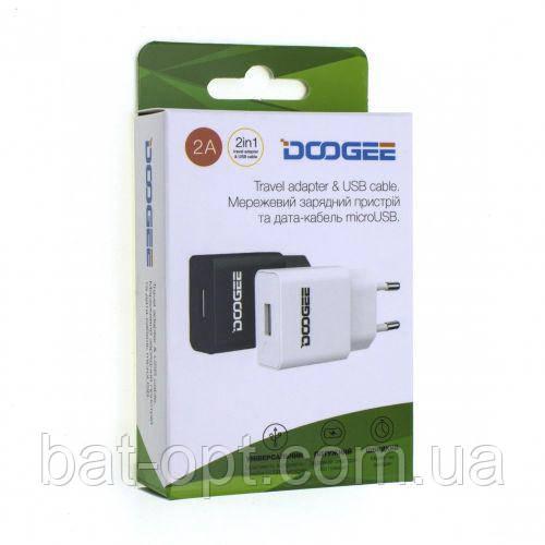 Сетевое зарядное устройство СЗУ USB Doogee YJ-06 2000mAh черное с кабелем