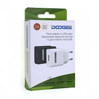 Сетевое зарядное устройство СЗУ USB Doogee YJ-06 2000mAh черное с кабелем                                                    , фото 1