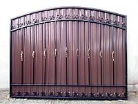 Секция забор с коваными элементами и профнастилом, код: А-0118