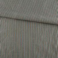 321877492 - Ткань рубашечная серая в бежевую и оранжево-голубую полоску, ш.145