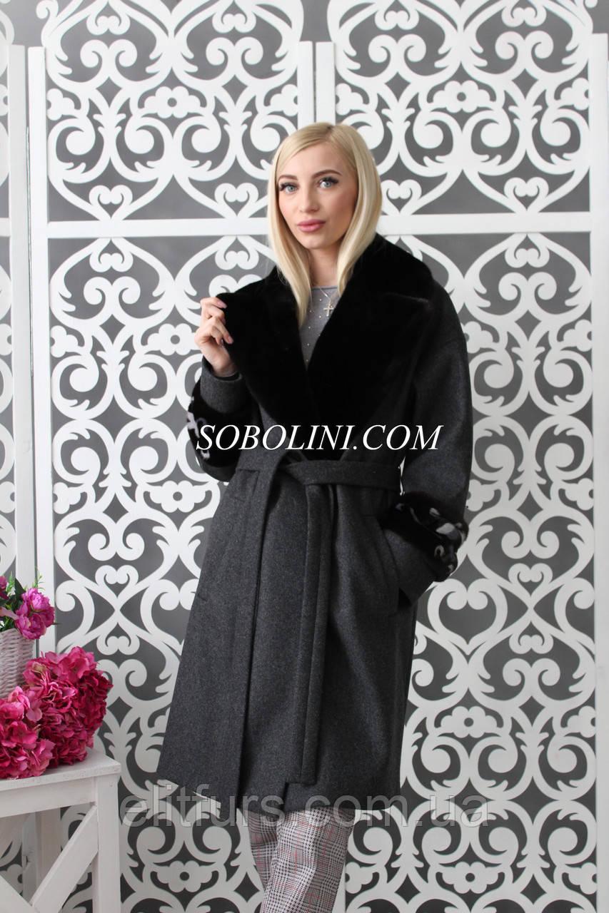 Пальто с мехом норки Blackglama +инкрустация, 46 размер