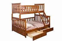 Детская кровать для девочек двухъярусная с ящиками  для хранения «Жасмин»