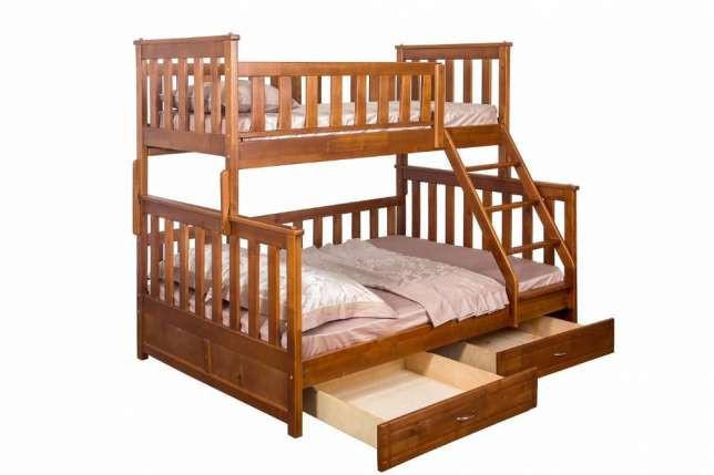 Кровати из дерева двухъярусная с ящиками  для хранения «Жасмин»