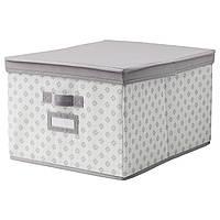 IKEA СВИРА Коробка с крышкой, серый, белый цветы, 39x48x28 см   202.902.92