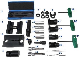 Набор инструмента для ремонта форсунок Common Rail 22 предмета