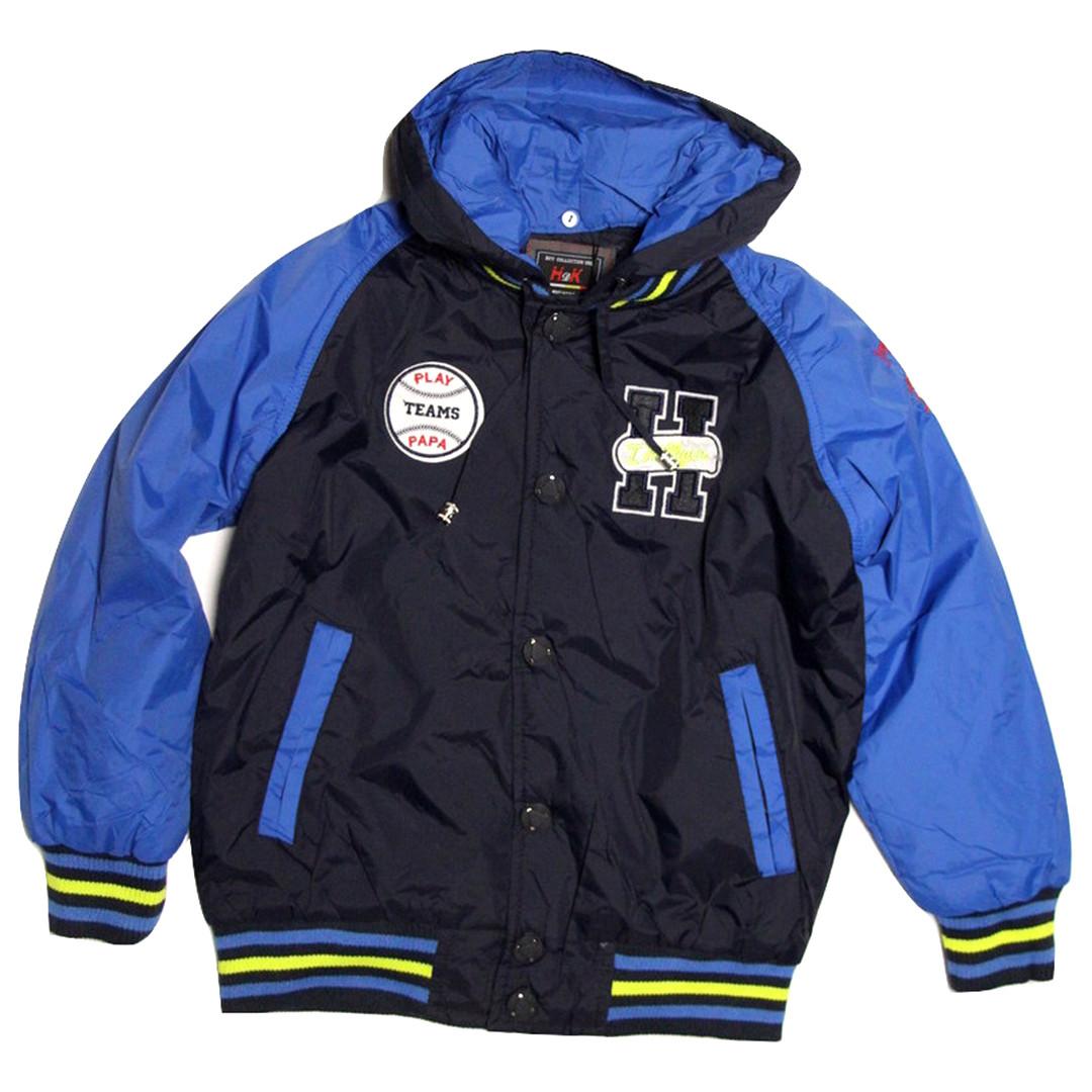 Куртка-бомбер демисезонная для мальчика от 6 до 10 лет синяя