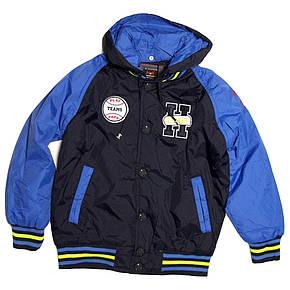 Куртка-бомбер демисезонная для мальчика от 6 до 10 лет синяя, фото 2